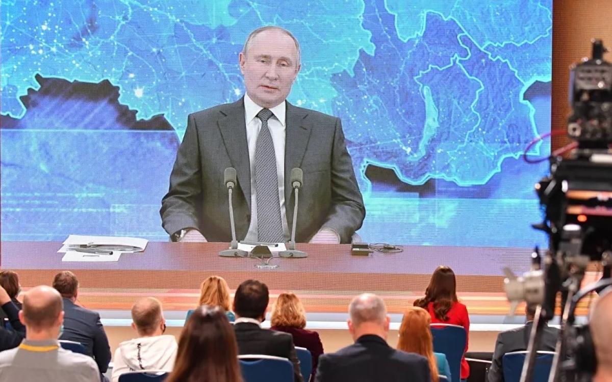Tổng thống Putin trong buổi họp báo trực tuyến 2020. Ảnh: Sputnik.
