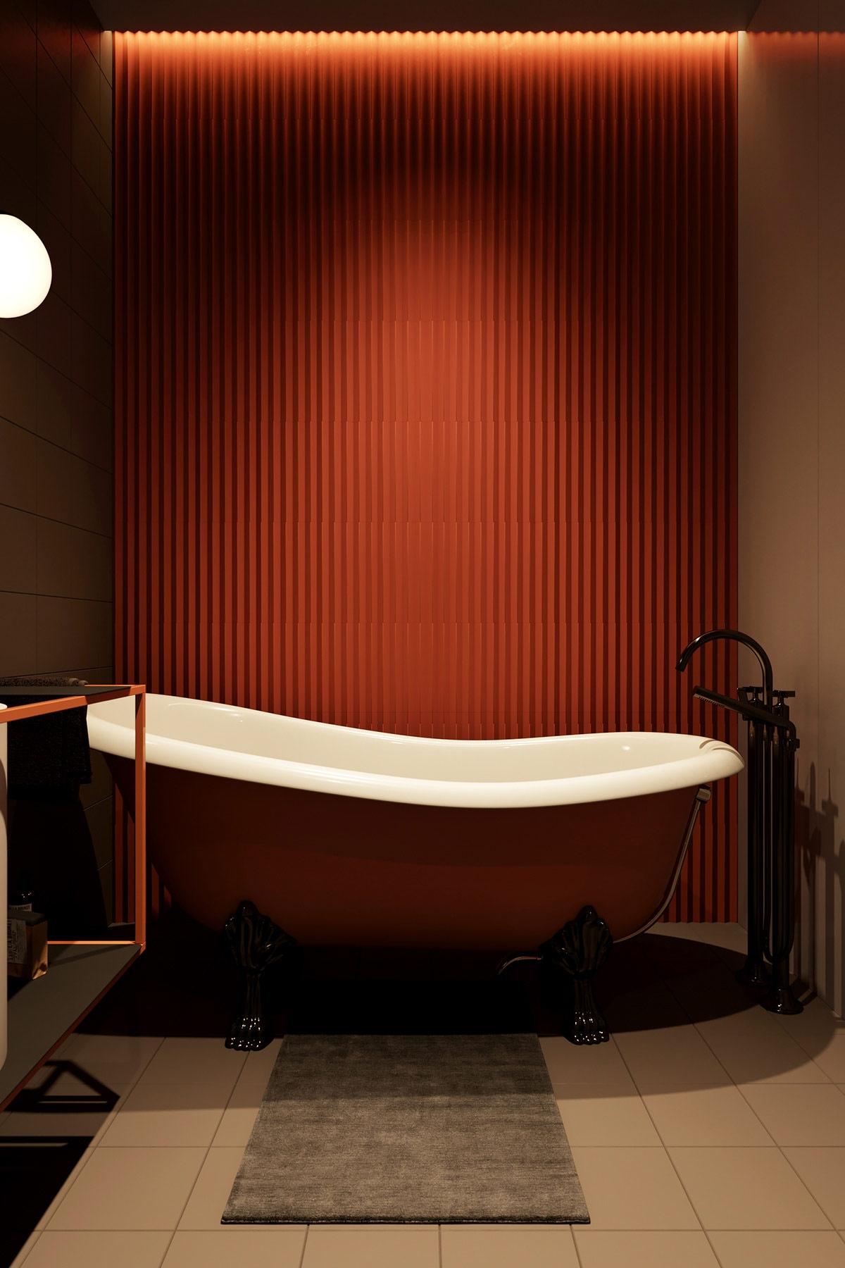 Chiếc bồn tắm màu cam quá nổi bật, là điểm nhấn nổi bật trong không gian./.