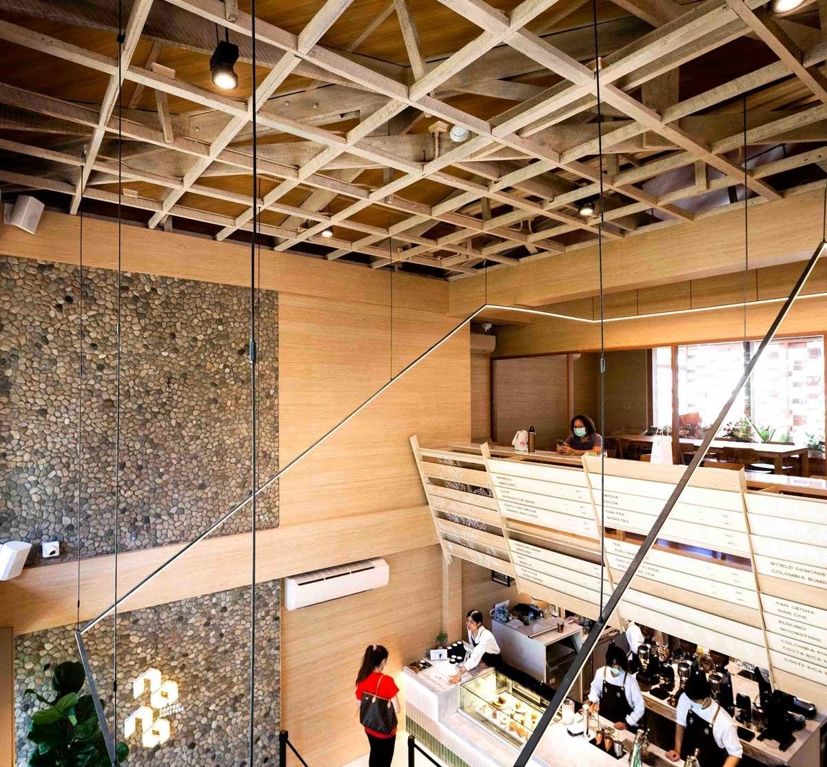 Thêm vào 2 tấm đá ốp tường là một điểm nhấn sáng tạo, gây được không ít sự chú ý trong không gian.