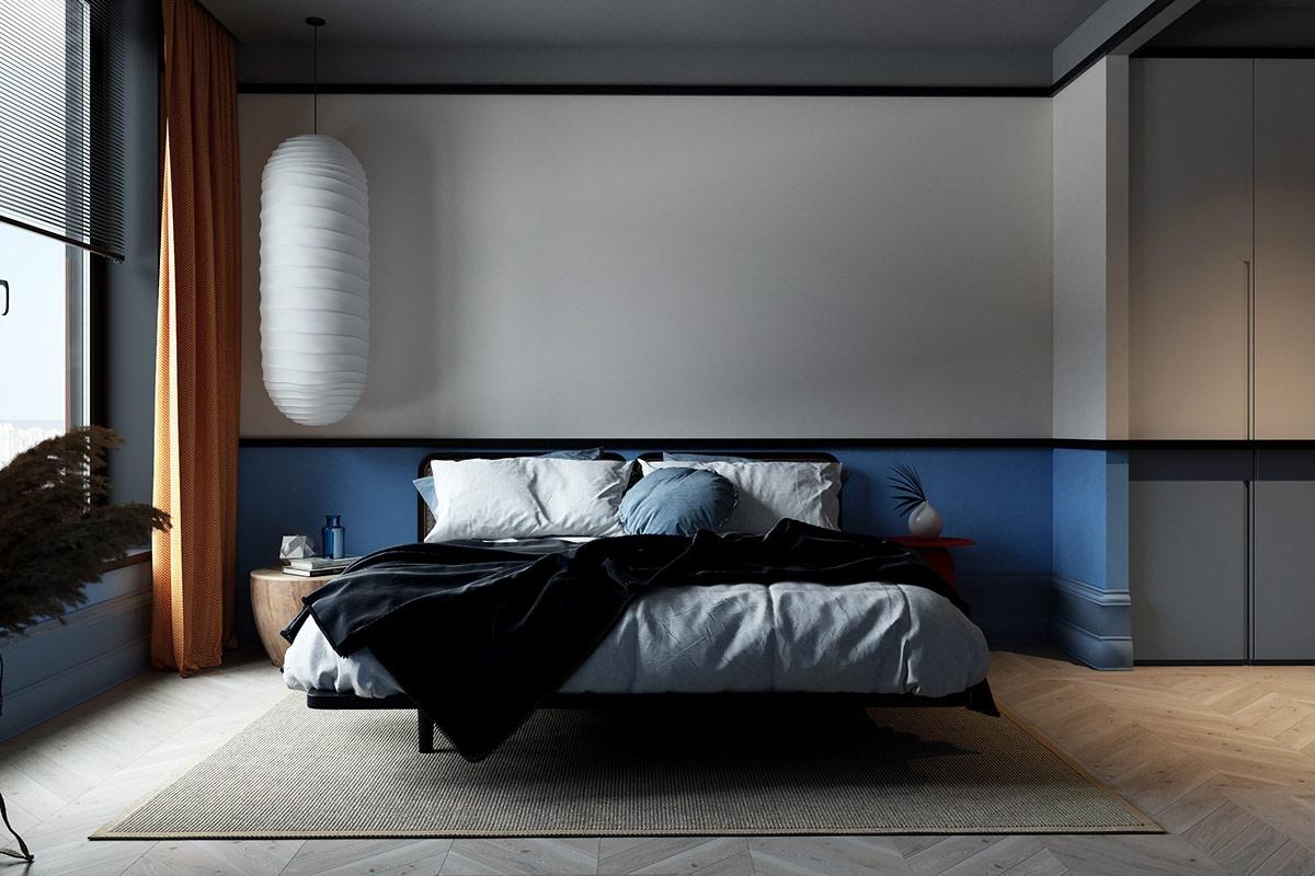 Một sự tương phản màu sắc nhè nhẹ trong phòng ngủ, không quá trầm lắng nhưng không quá nhộn nhịp, thích hợp chốn nghỉ ngơi sau những giờ làm việc căng thẳng.