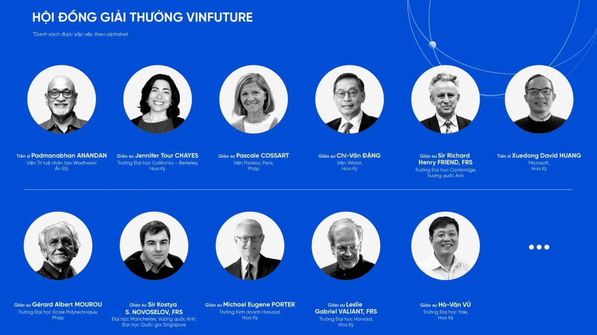 Các thành viên trong Hội đồng Giải thưởng VinFuture.