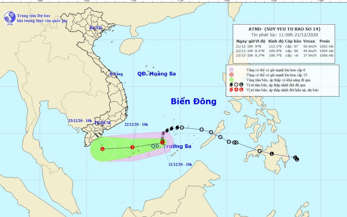 Bão số 14 suy yếu thành áp thấp nhiệt đới