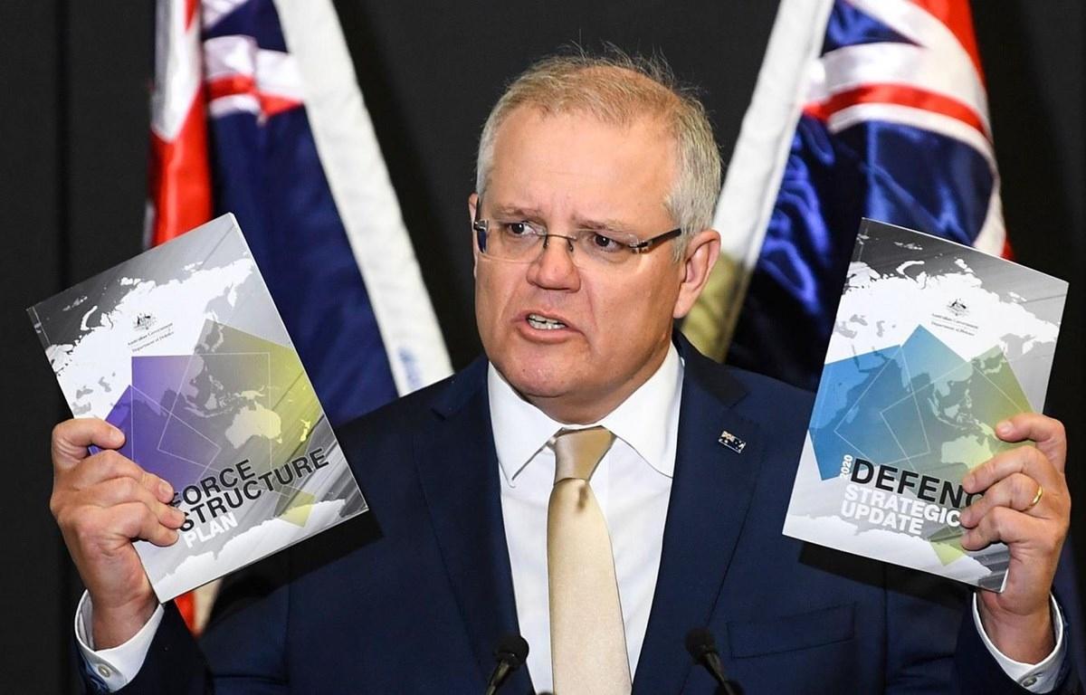 Thủ tướng Australi Scott Morrison phát biểu trong buổi công bố Cập nhật Chiến lược Quốc phòng Australia 2020. Ảnh: FT