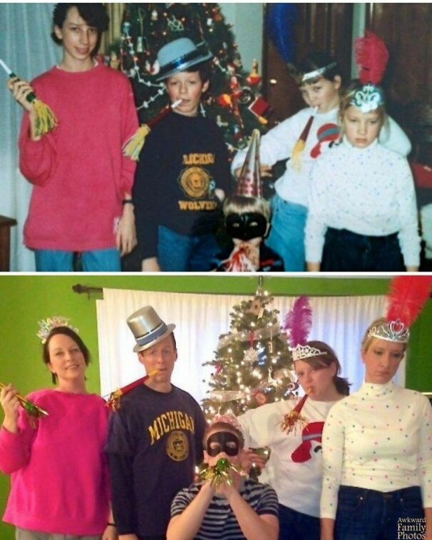 Cả gia đình tái hiện lại không khí Giáng sinh ngày bé.