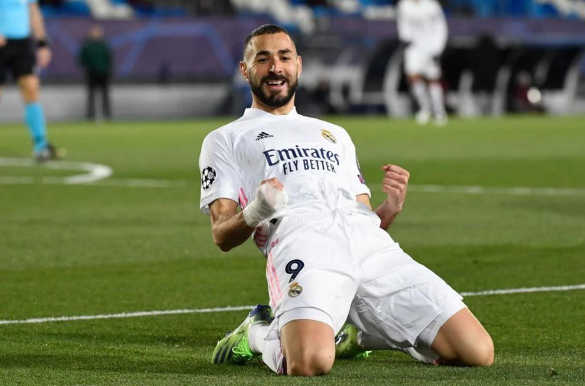 Pha ghi bàn của Benzema giúp Real đang có thế trận tích cực. (Ảnh: UEFA).