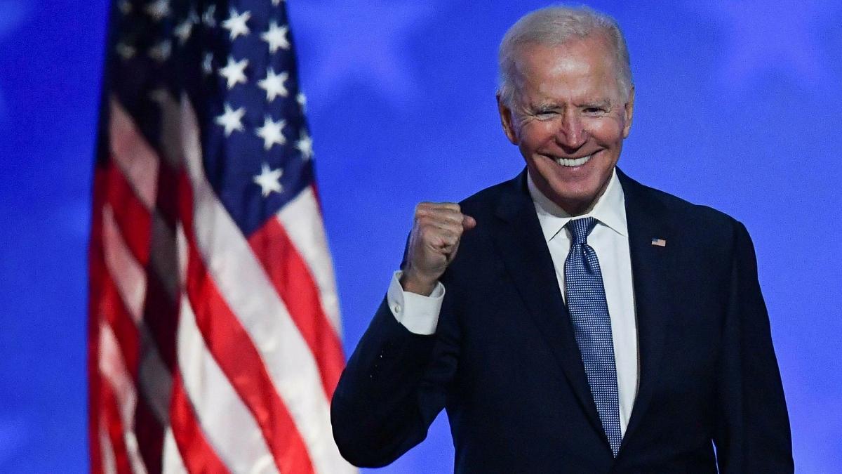 Joe Biden tuyên bố chiến thắng, kêu gọi nước Mỹ sang trang mới, đoàn kết và hàn gắn. Ảnh: AFP.