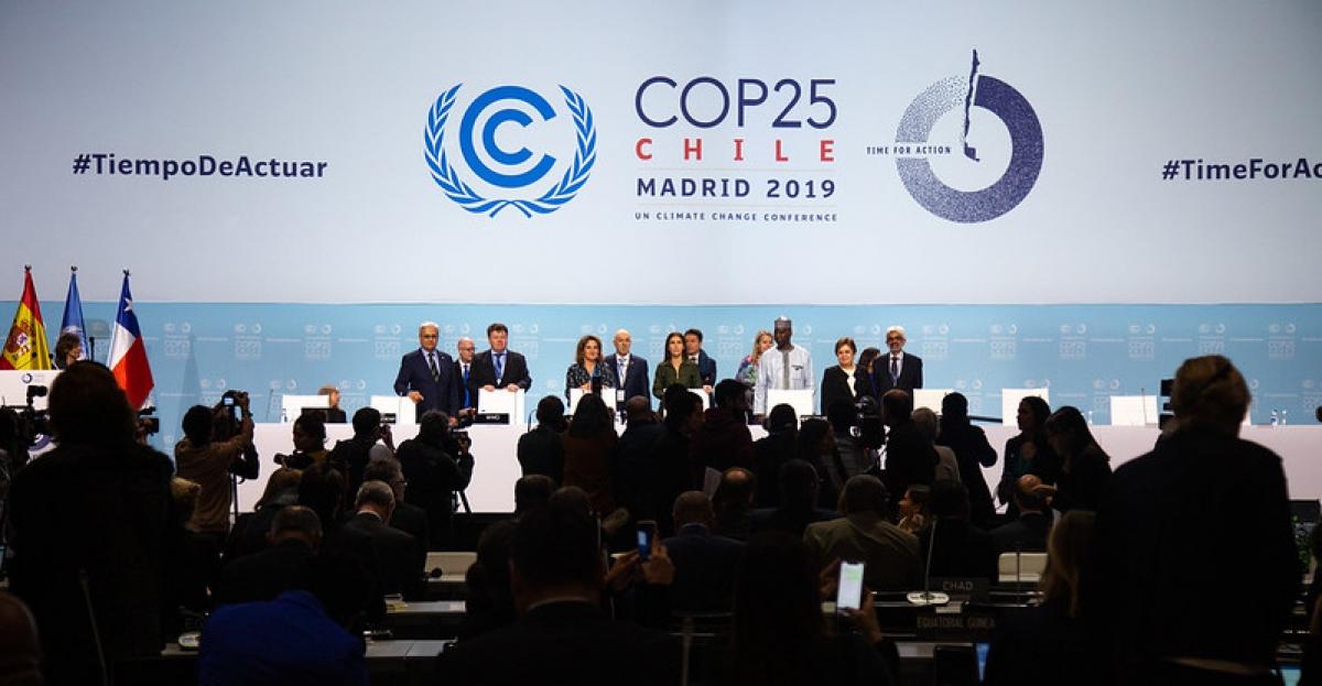 Hội nghị về biến đổi khí hậu của Liên Hợp Quốc năm 2019. Ảnh: Climate Home News