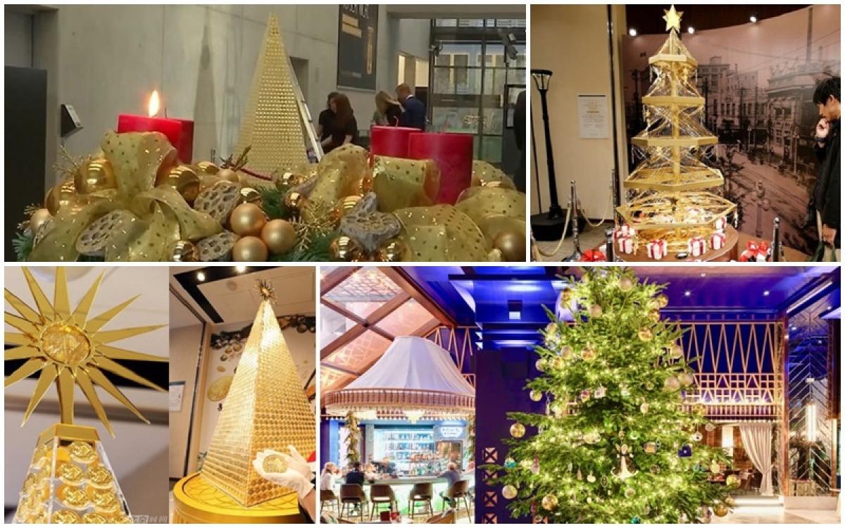 Những cây thông Noel bằng vàng vào dịp Giáng Sinh khiến khách tham quan choáng ngợp.