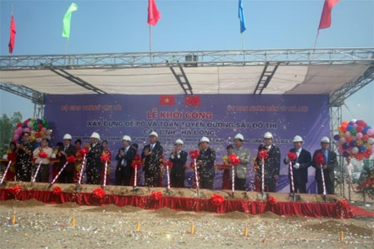 Lễ khởi công Depo và toàn tuyến ĐSĐT Cát Linh - Hà Đông sáng 10/10/2011.