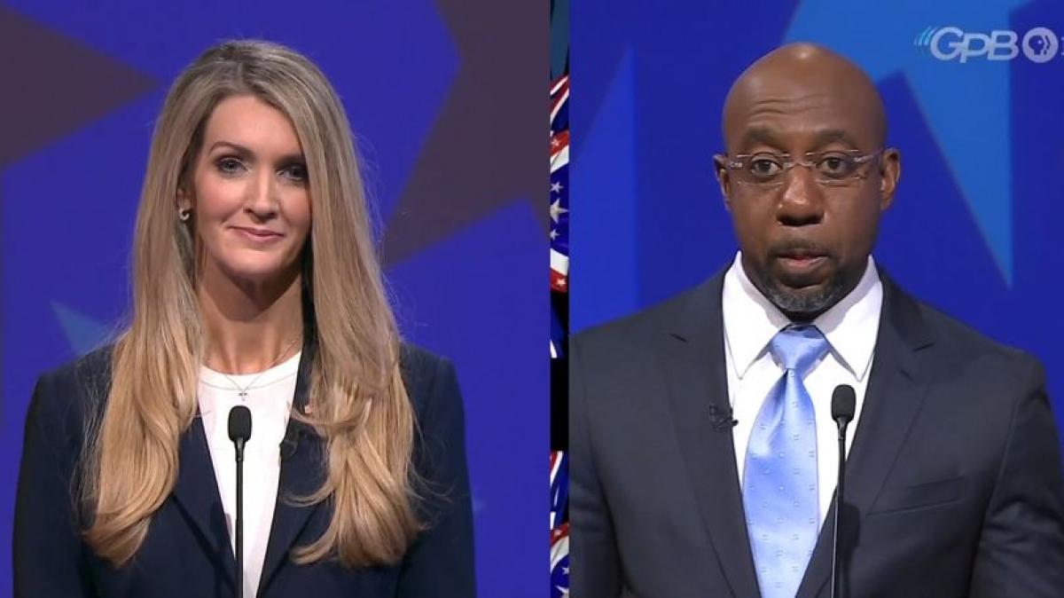 Thượng nghị sỹ đảng Cộng hòa (GOP) Kelly Loeffler và ứng cử viên đảng Dân chủ Raphael Warnock. Ảnh: CNN