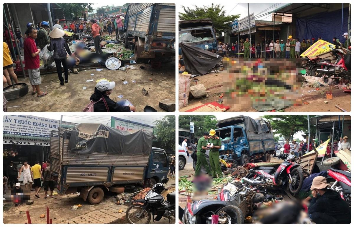Xe tải gây tai nạn liên hoàn khiến 10 người thương vong ở Đắk Nông: Vào khoảng 6h ngày 13/6, trên đường Hồ Chí Minh, đoạn qua chợ xã Đắk R'La (còn gọi là chợ 312), huyện Đắk Mil, tỉnh Đắk Nông đã xảy ra một vụ va chạm giao thông giữa xe tải BKS 69C – 05159 với xe mang BKS 48C-03579 đi cùng chiều, sau đó xe 69C-05159 đâm tiếp vào xe tải biển kiểm soát 47C-12570 làm xe này lật nghiêng, tiếp tục đâm vào các sạp bán hàng cạnh đó. Sau khi gây tai nạn, xe tải 69C-05159 di chuyển thêm khoảng 500m rồi lật ngửa. Vụ tai nạn làm 6 người tử vong và 4 người bị thương. Theo kết luận điều tra, tài xế đã điều khiểnô tô tải chở hàng quá trọng tải quy địnhdẫn đến mất an toàn kỹ thuật.