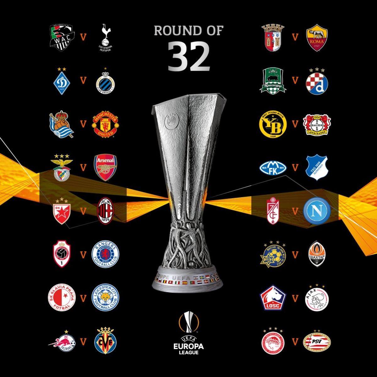 Kết quả bốc thăm vòng 1/16 Europa League. (Ảnh: UEFA)