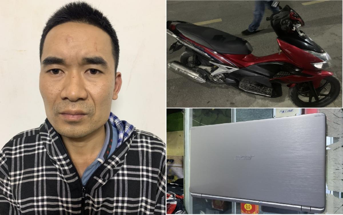 Đối tượng Phạm Văn Hưng và số tài sản bị trộm cắp bị phát hiện, thu giữ (Ảnh: Công an TP Uông Bí)