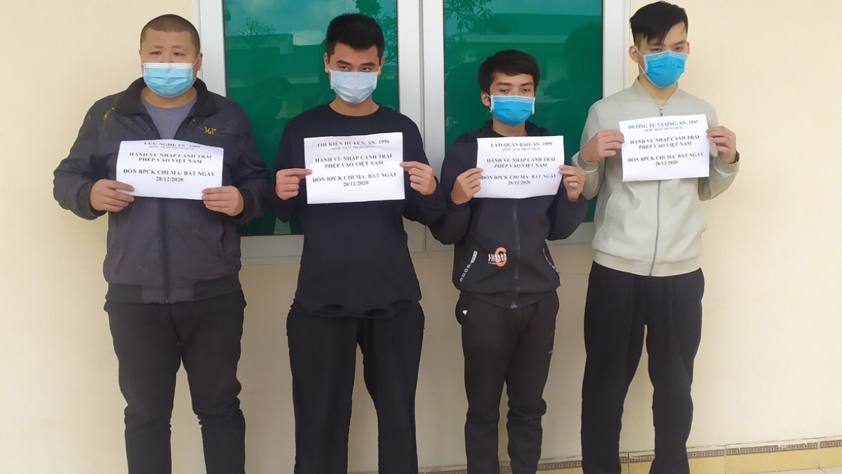 Four Chinese nationals are picked up at the Chi Ma border gate in Lang Son province.