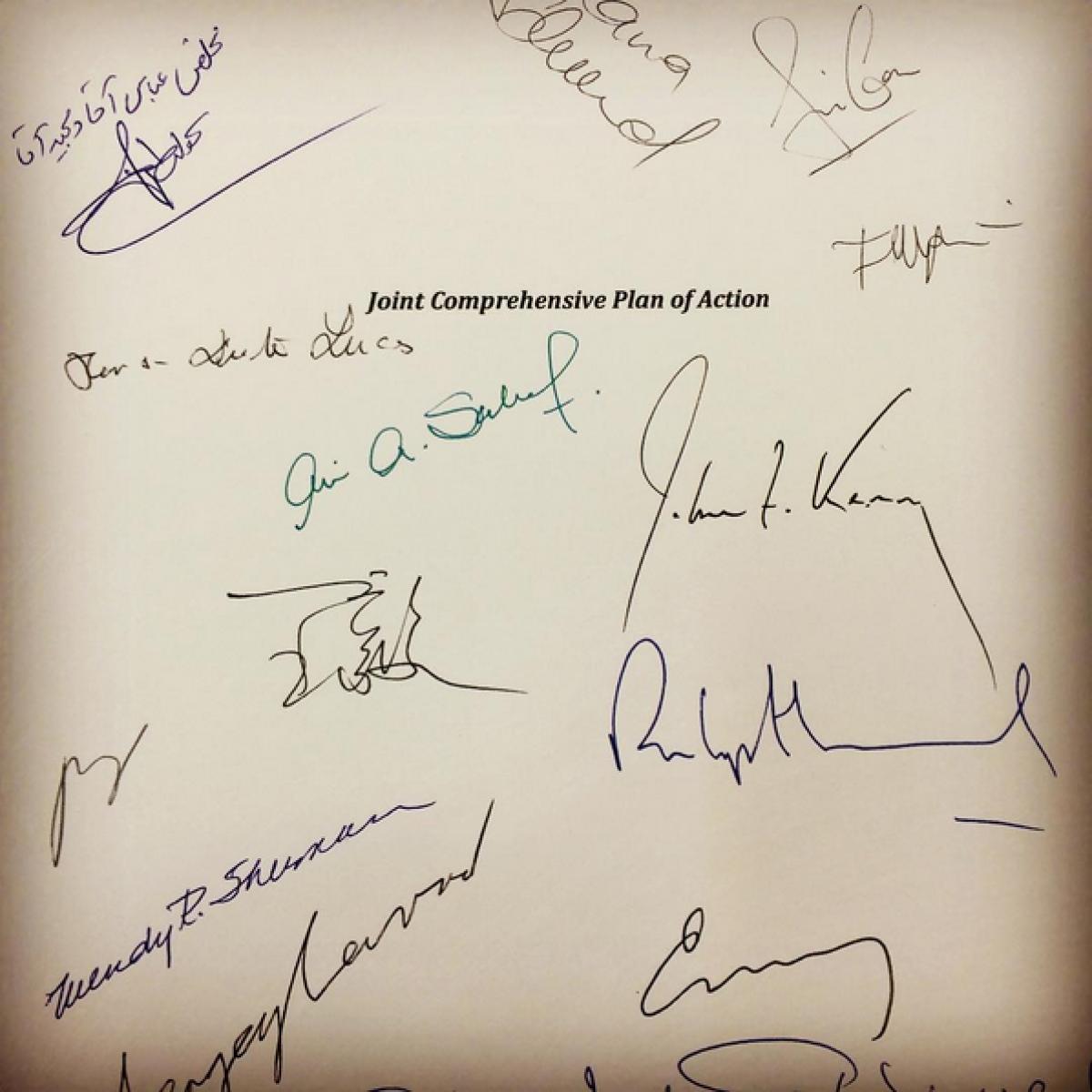 Chữ ký Bộ trưởng Ngoại giao P5+1 về Thỏa thuận Hạt nhân Iran; Ngày: wikipedia.org