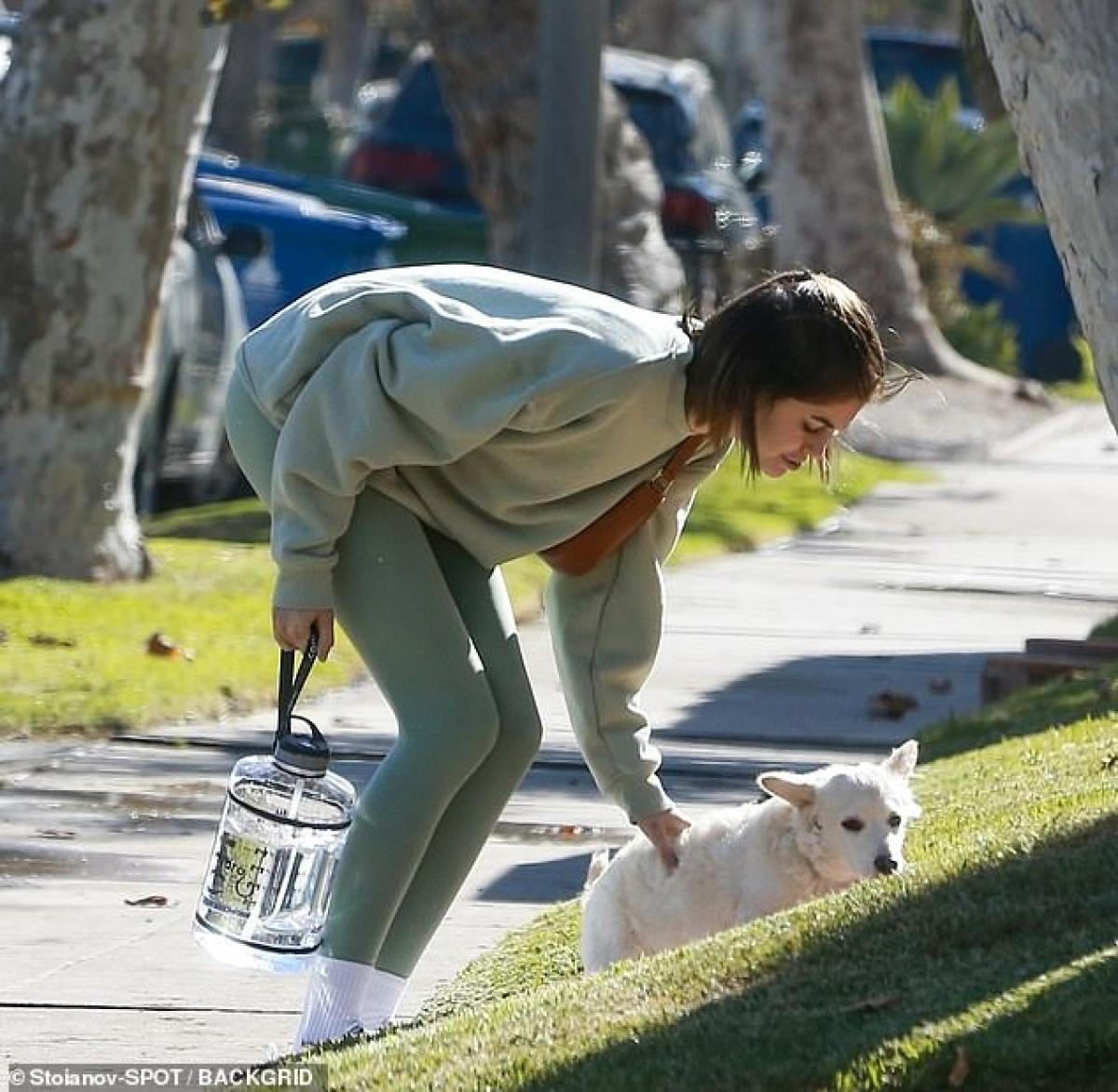 Con gái siêu mẫu Cindy Crawford tranh thủ chơi đùa cùng chú cún cưng ngoài phố.