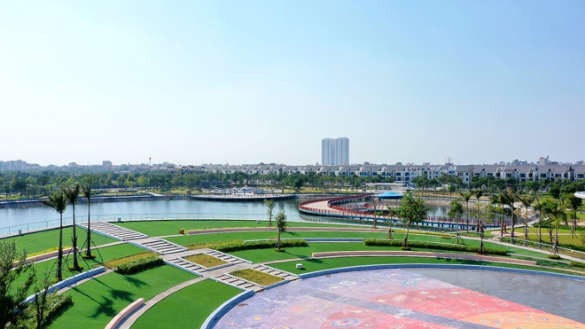 Một góc Công viên Thiên Văn học tại Khu đô thị Dương Nội mang đến không gian sống trong lành.
