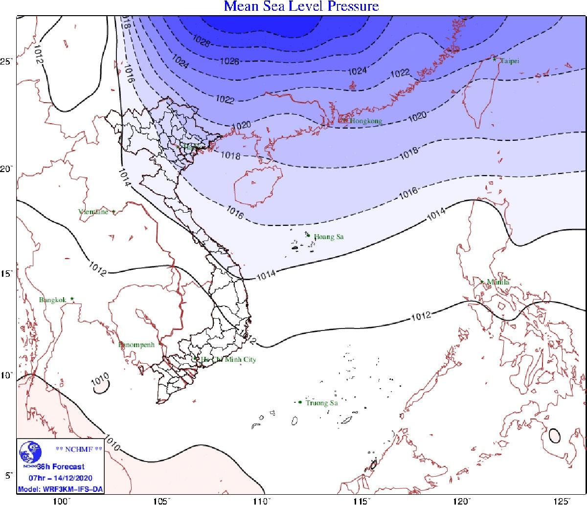 Bộ phận không khí lạnh sắp ảnh hưởng đến các tỉnh vùng núi Bắc Bộ.