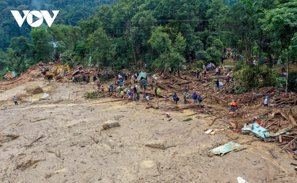 Vụ sạt lở đất xay ra vào ngày 28-10 xóa sổ toàn bộ nóc Ông Đề, thôn 1 xã Trà Leng, huyện miền núi Nam Trà, tỉnh Quảng Nam.