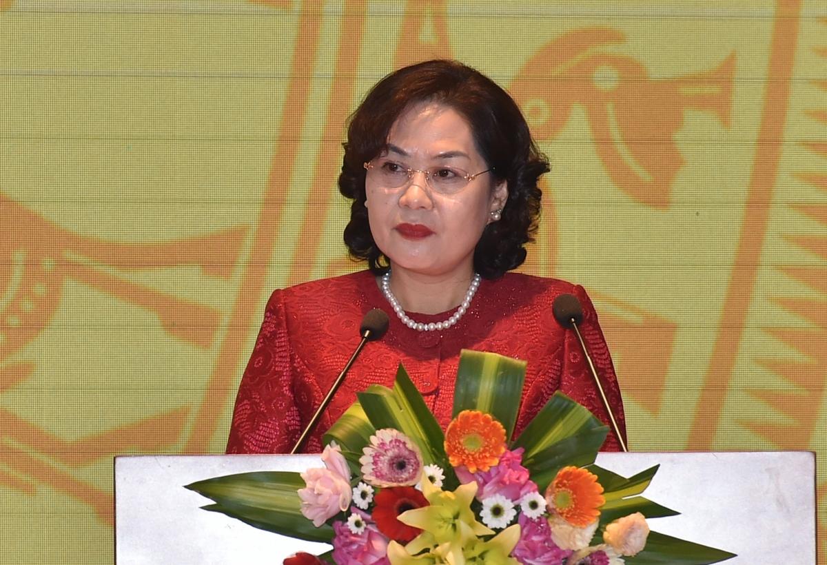 Thống đốc Ngân hàng Nhà nước phát biểu tại Hội nghị (Ảnh: VGP)