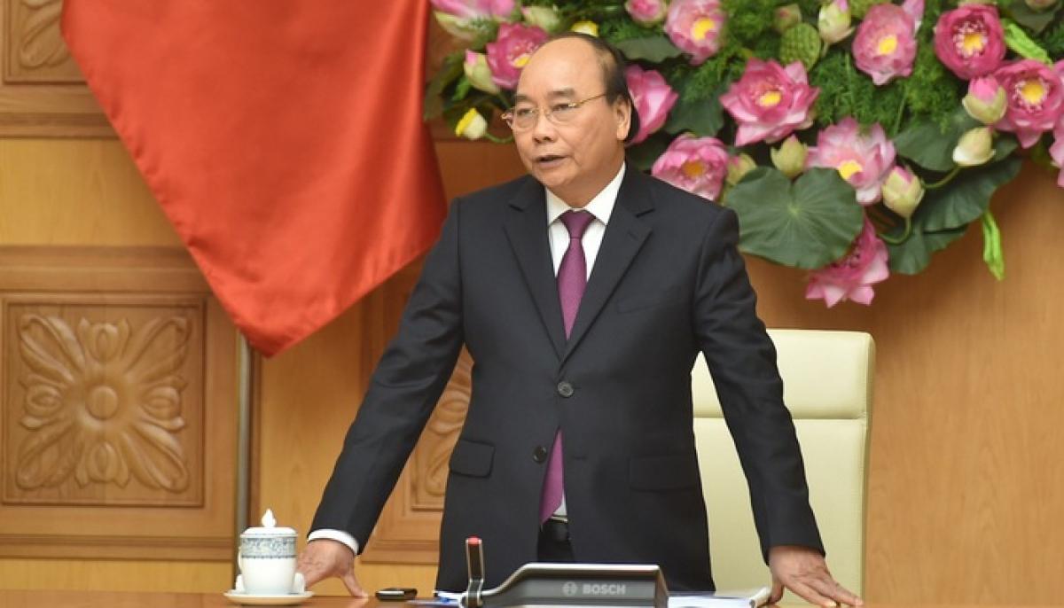 Thủ tướng Nguyễn Xuân Phúc phát biểu tại cuộc gặp mặt.