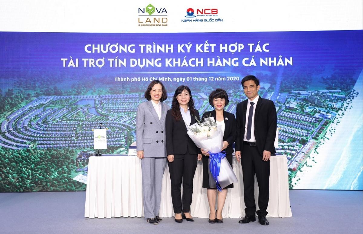 Đại diện tập đoàn Novaland và Ngân hàng NCB trong sự kiện Ký kết hợp tác tài trợ tín dụng khách hàng cá nhân.