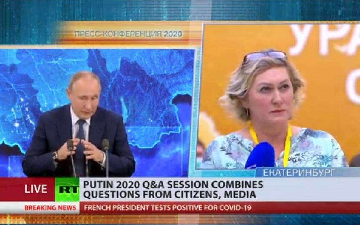 Tổng thống Putin trả lời câu hỏi của phóng viên trong họp báo trực tuyến cuối năm 2020. Ảnh: RT.
