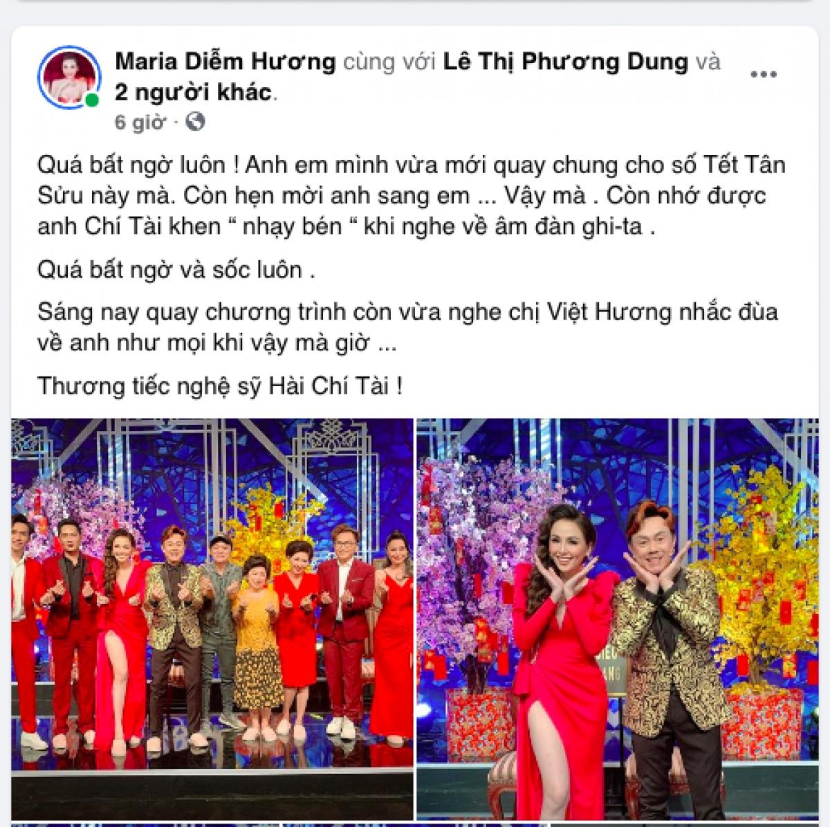 Hoa hậu Diễm Hương chia sẻ sự bất ngờ và đau buồn khi hay tin nghệ sĩ Chí Tài qua đời. Cô và danh hài từng nhiều lần ghi hình cùng nhau.