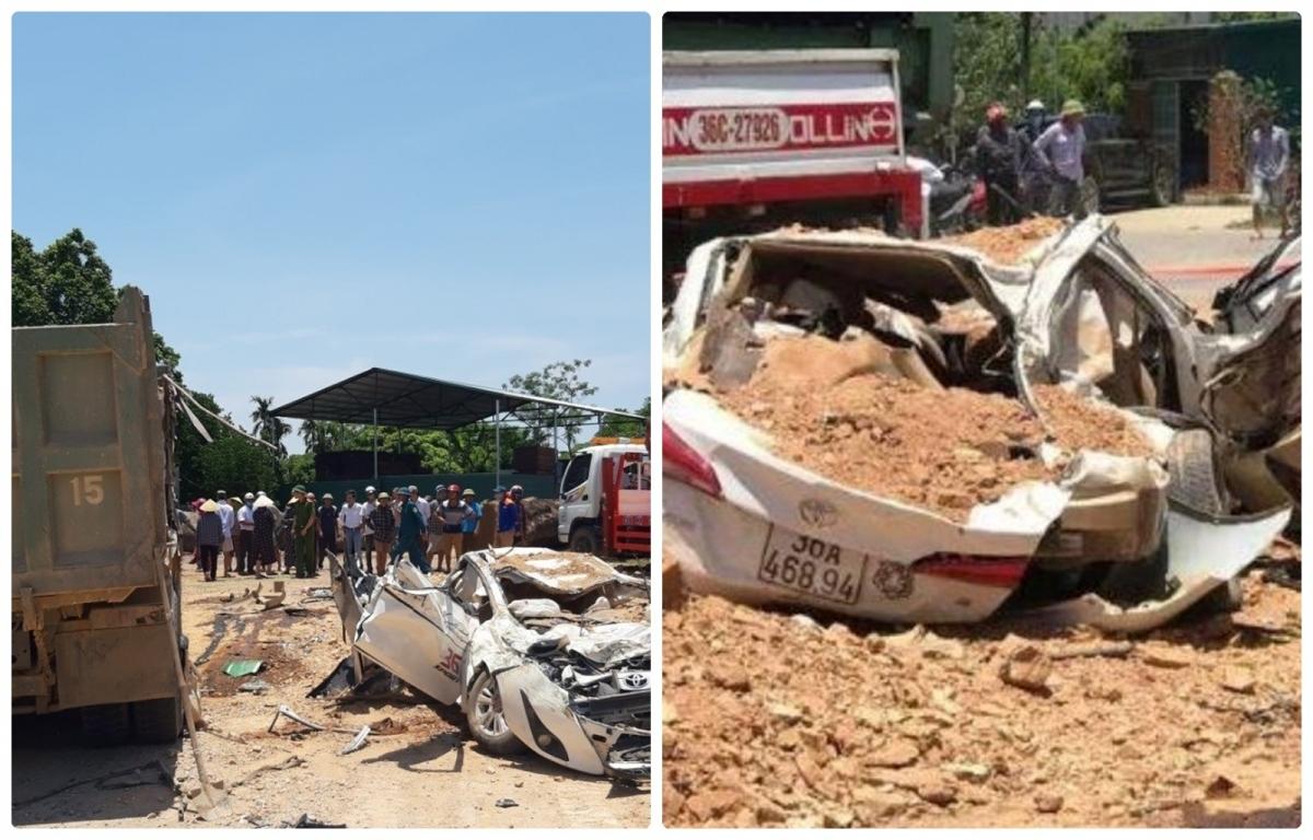 Xe tải chở đất lật đề bẹp dúm ô tô con ở Thanh Hóa:Vào khoảng 10h30 ngày 4/6, xe tải Howo mang BKS 36C -171.15 do tài xế Lương Văn Lâm (35 tuổi, trú tại xã Hoằng Lưu, huyện Hoằng Hóa, Thanh Hóa) điều khiển đã lật, đè cả thùng xe chở đất lên chiếc xe ô tô con mang BKS 36A-468.94, khiến chiếc xe con bị bẹp dúm. Hậu quả, khiến chiếc xe ô tô con biến dạng, 3 người tử vong tại chỗ, 1 người bị thương./.