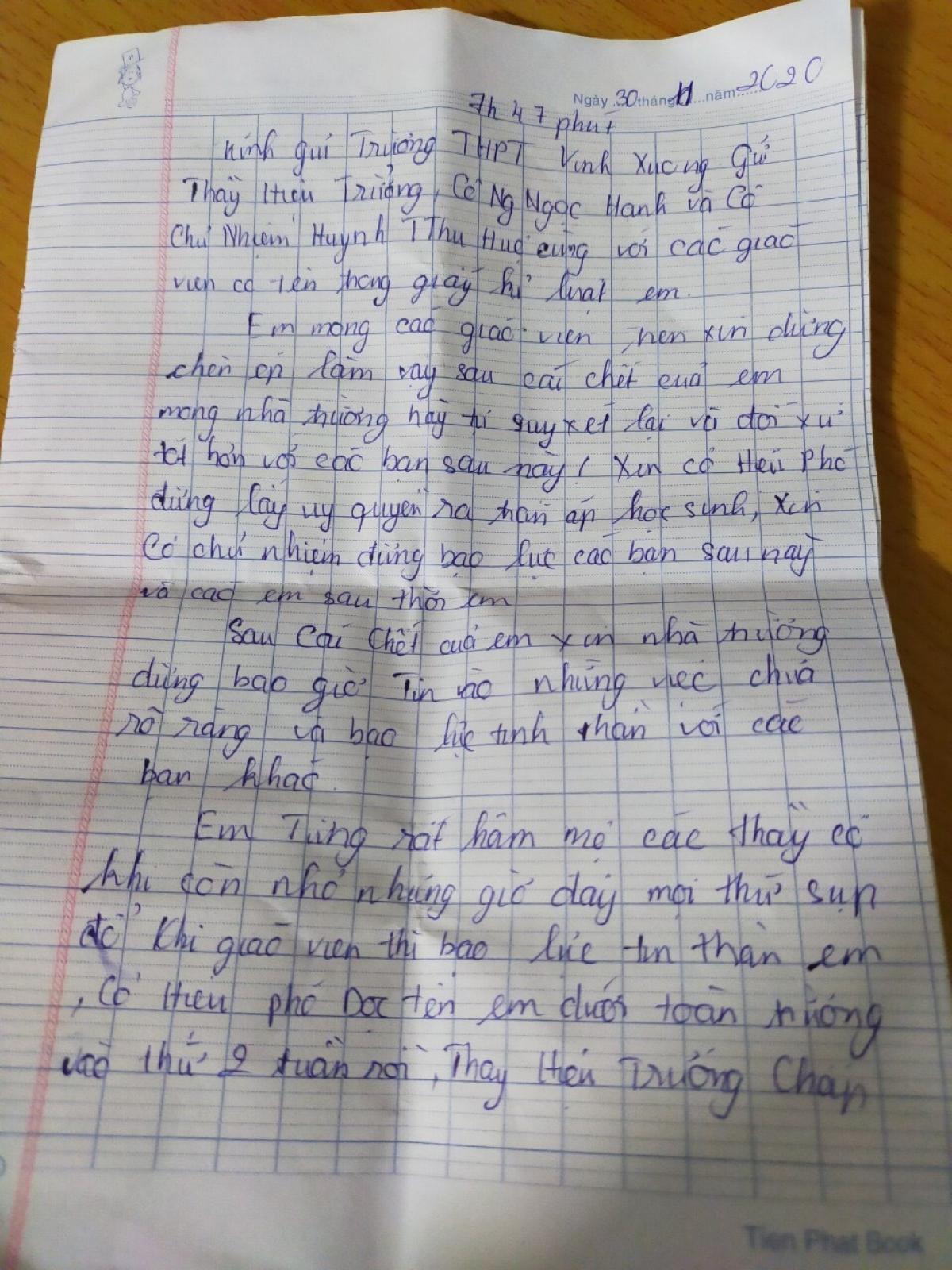 Bức thư tuyệt mệnh của học sinh để lại trước khi tự tử.