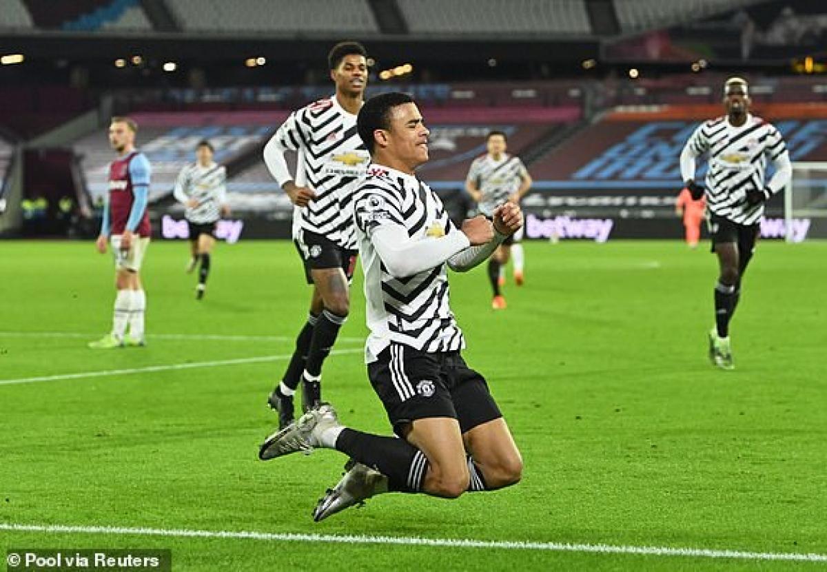 Greenwood ăn mừng bàn thắng nâng tỷ số lên 2-1 cho MU trước West Ham. (Ảnh: reuters).