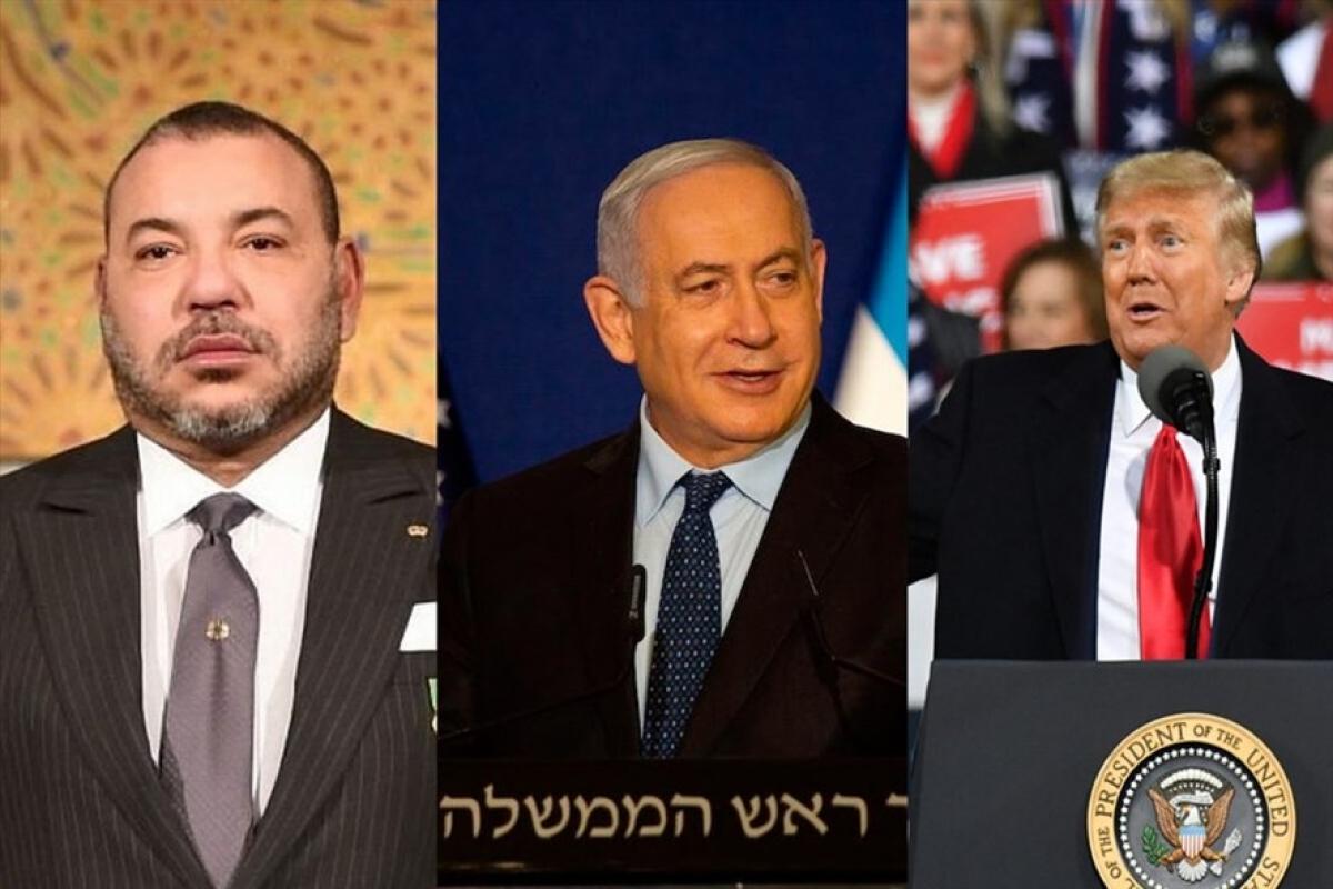 Quốc vương Morocco Mohammed VI, Thủ tướng Israel Benjamin Netanyahu và Tổng thống Donald Trump (từ trái sang). Ảnh: AFP.
