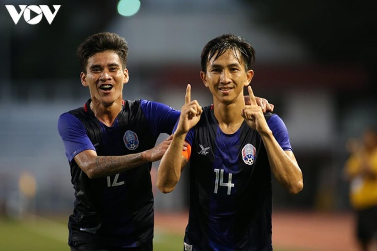 Bóng đá nam Campuchia lần đầu vào bán kết SEA Games ngày này 1 năm trước. (Ảnh: Ngọc Duy).
