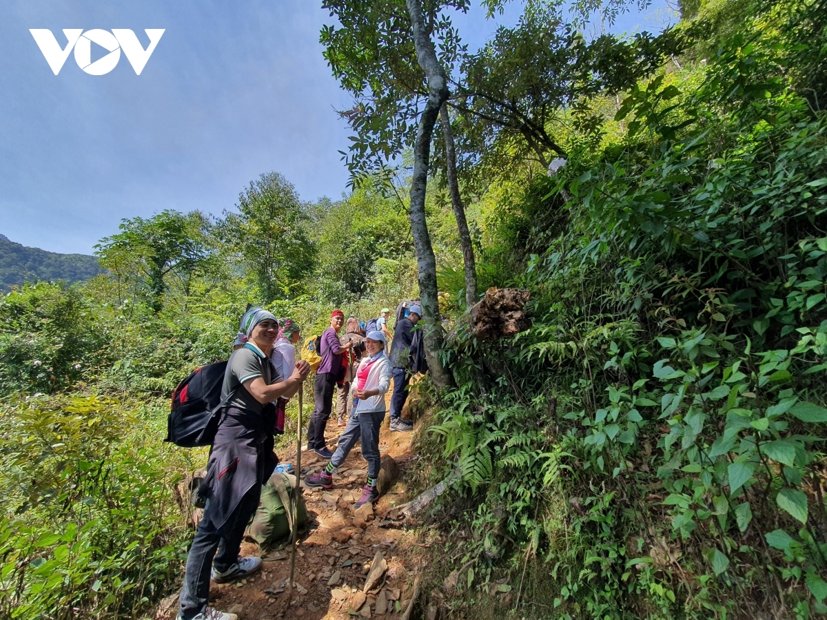 Visitors to the area must be in Tram Tau district one day before starting their climb to the peak of Ta Chi Nhu mountain, with local porters on hand to support tourists on their journey to conquer the mountain.