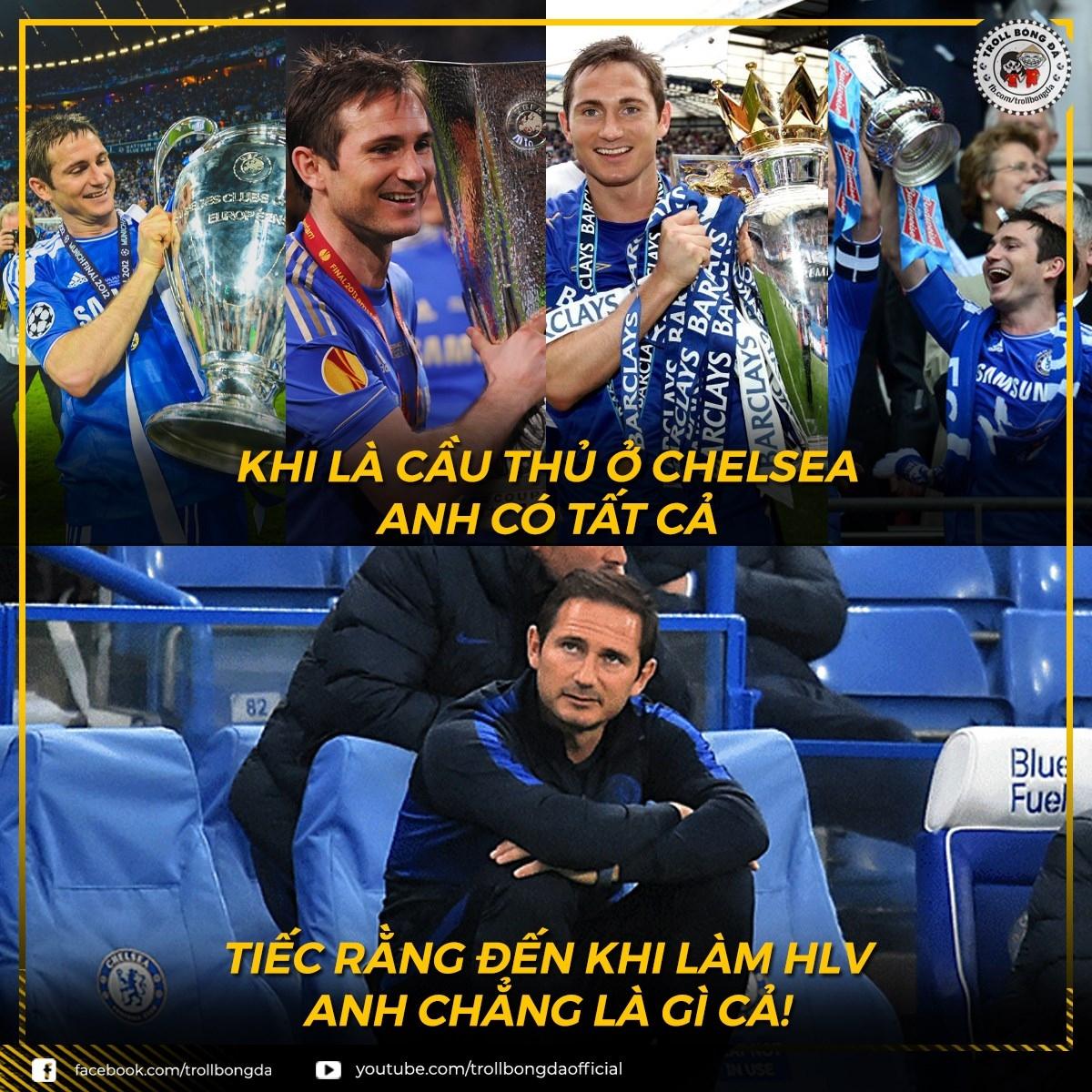 HLV Lampard rời chiếc ghế HLV của Chelsea mà không có được thành công đáng kể nào. (Ảnh: Troll bóng đá).