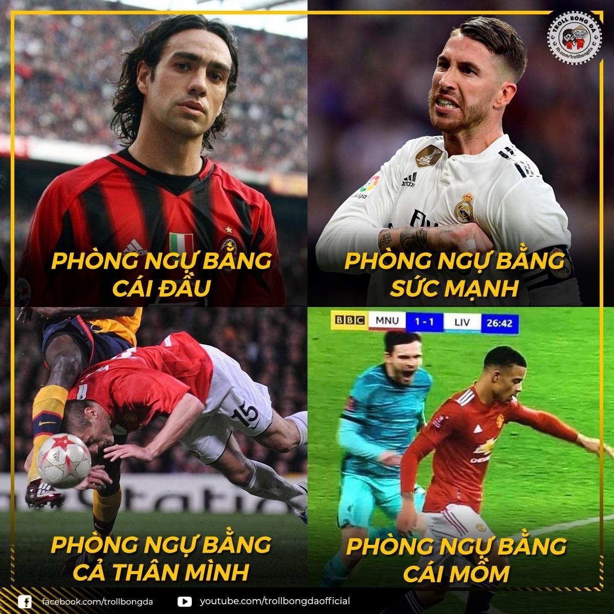 Các cách phòng ngự chủ đạo của nhưng hậu vệ ngôi sao trong thế giới bóng đá. (Ảnh: Troll bóng đá).