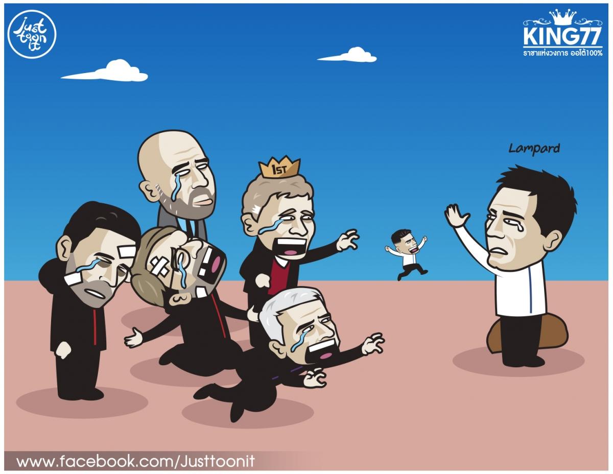 Các HLV ở Ngoại hạng Anh nói lời chia tay HLV Lampard. (Ảnh: Justtoonit).