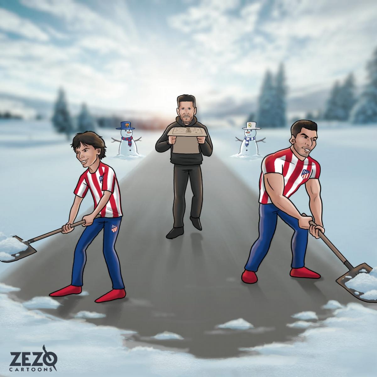 """HLV Simeone cùng bộ đôi Felix - Suarez """"phá băng"""" giúp Atletico Madrid vững vàng trên đỉnh BXH La Liga (Ảnh: Zezo Cartoons)./."""