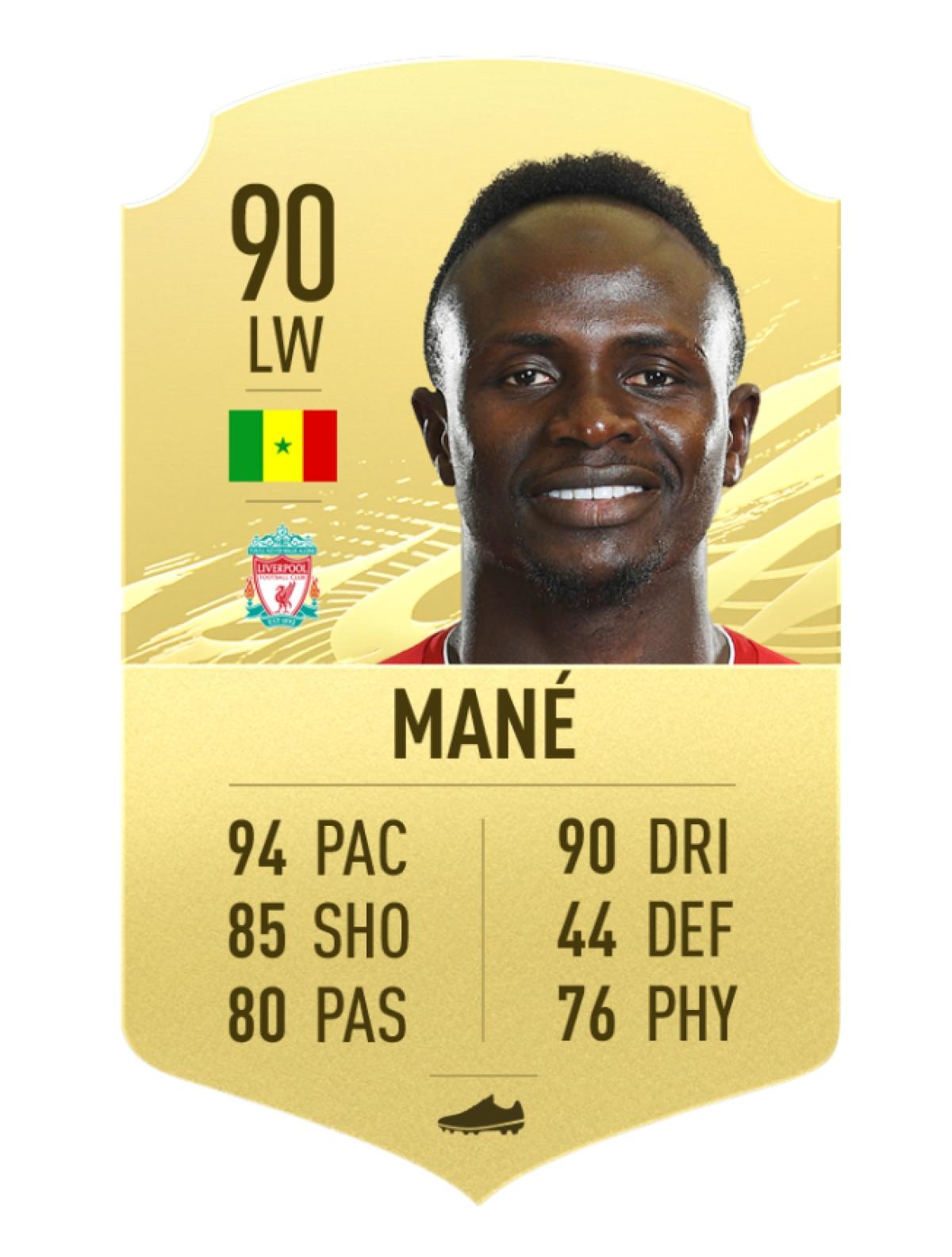 10. Sadio Mané - Liverpool | Chỉ số rê bóng 90