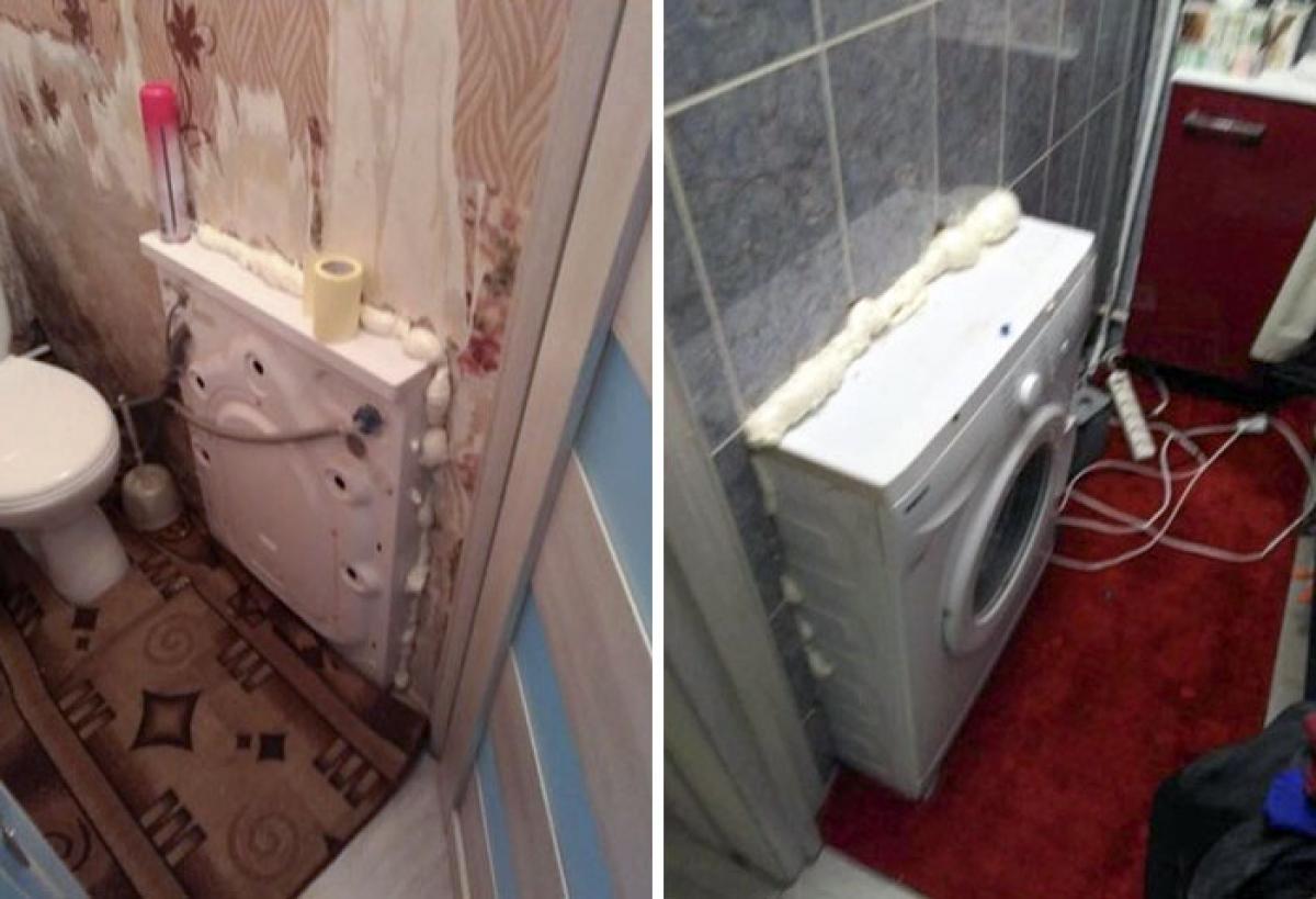 Để tiết kiệm diện tích, gia chủ đã đặt âm máy giặt trong tường. Hãy thử tưởng tượng ngôi nhà rung lắc như thế nào mỗi khi muốn giặt đồ?
