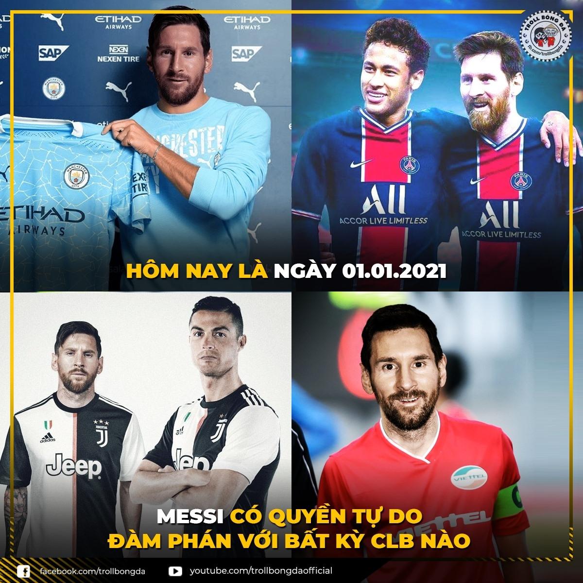 Lionel Messi sẽ đáo hạn hợp đồng với Barca vào cuối mùa giải này. (Ảnh: Troll Bóng Đá)