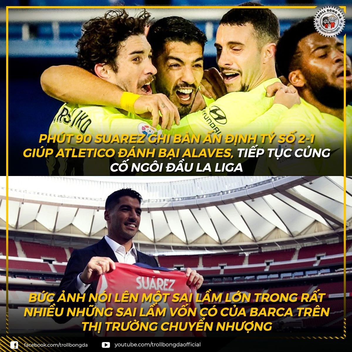 Luis Suarez chứng minh đẳng cấp. (Ảnh: Troll Bóng Đá)