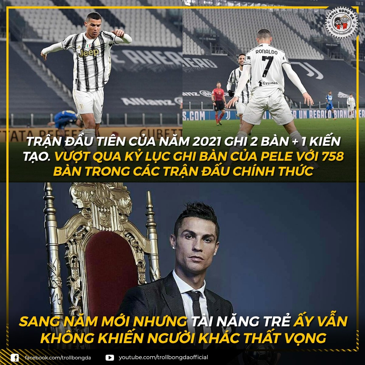 Cristiano Ronaldo vượt qua Vua bóng đá Pele. (Ảnh: Troll Bóng Đá)