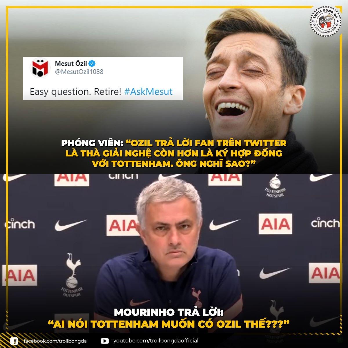"""Mourinho khiến Ozil nhận cái kết """"đắng lòng"""". (Ảnh: Troll Bóng Đá)"""