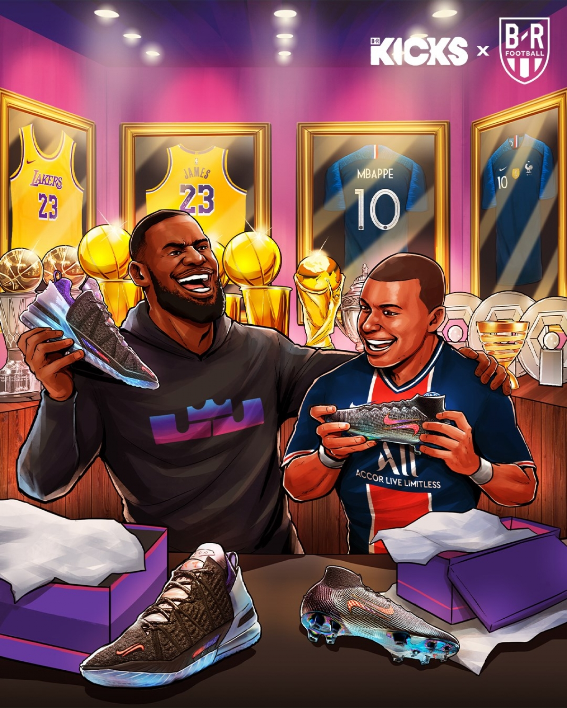 Kylian Mbappe kết hợp với LeBron James ra mắt mẫu giày mới. (Ảnh: Bleacher Reports)