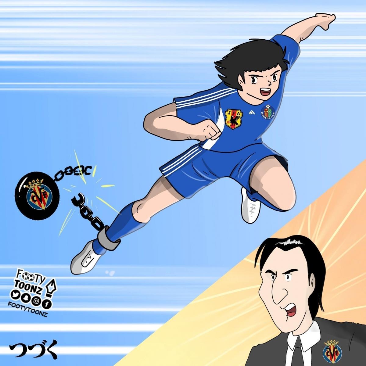 Kubo tỏa sáng như Tsubasa sau khi rời Villarreal sang Getafe. (Ảnh: Footy Toonz)