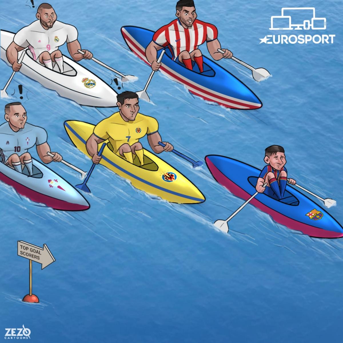 Cuộc đua Vua phá lưới La Liga. (Ảnh: ZEZO Cartoons)