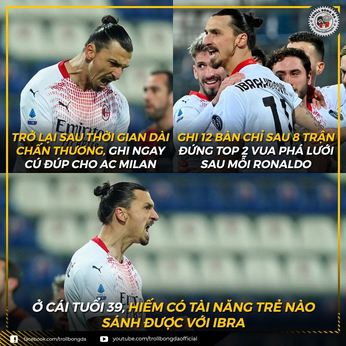Zlatan Ibrahimovic không thể ngừng ghi bàn. (Ảnh: Troll Bóng Đá)