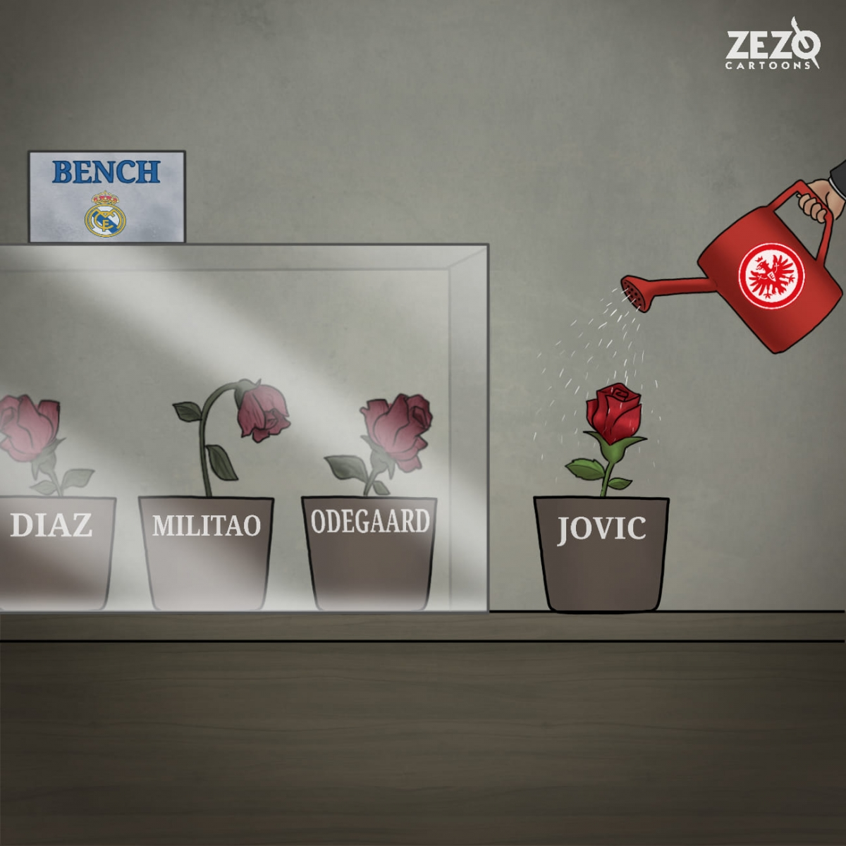 Luka Jovic hồi sinh sau khi rời Real Madrid. (Ảnh: ZEZO Cartoons)