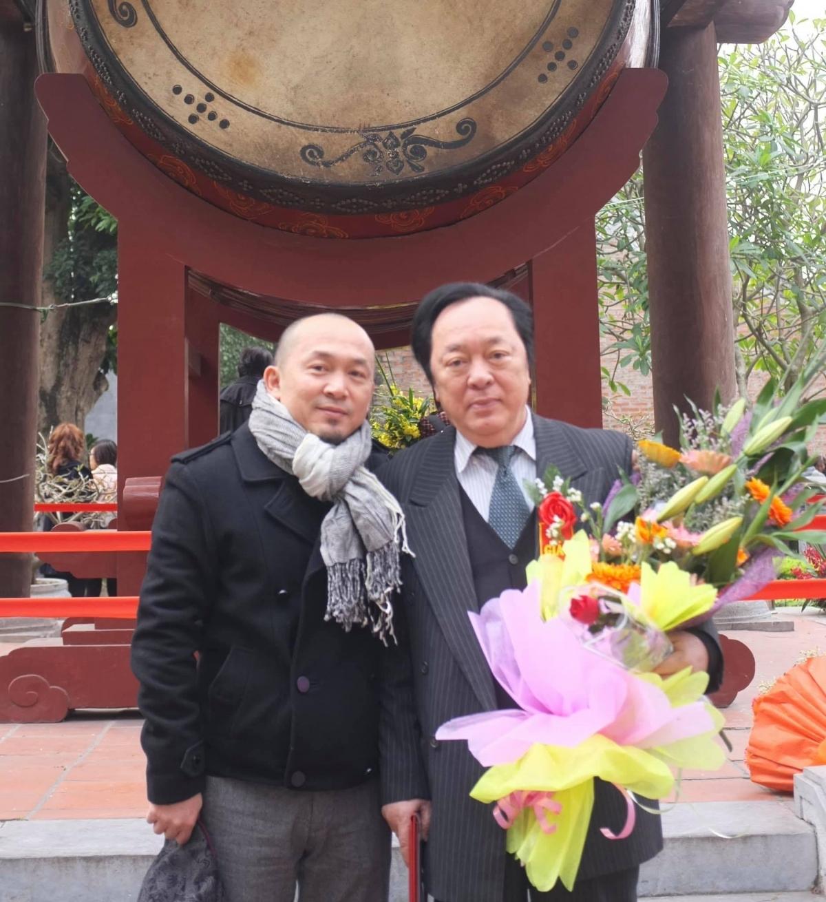 Nhạc sĩ Quốc Trung và Gs.NSND Trung Kiên. (Ảnh: FBNV)